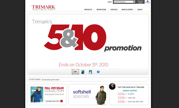Trimark Sportswear Group Home Page Design v2