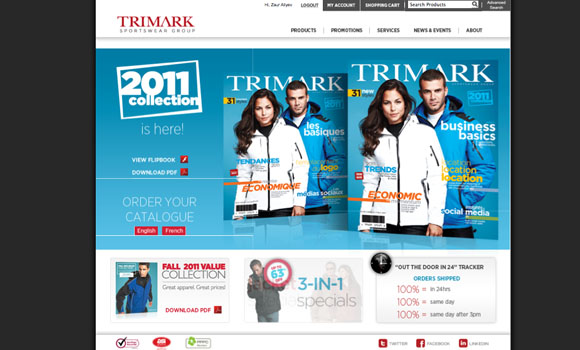 Trimark Sportswear Group Website Design v1