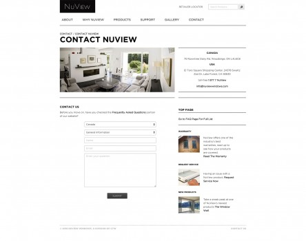 NuView Windows contact page