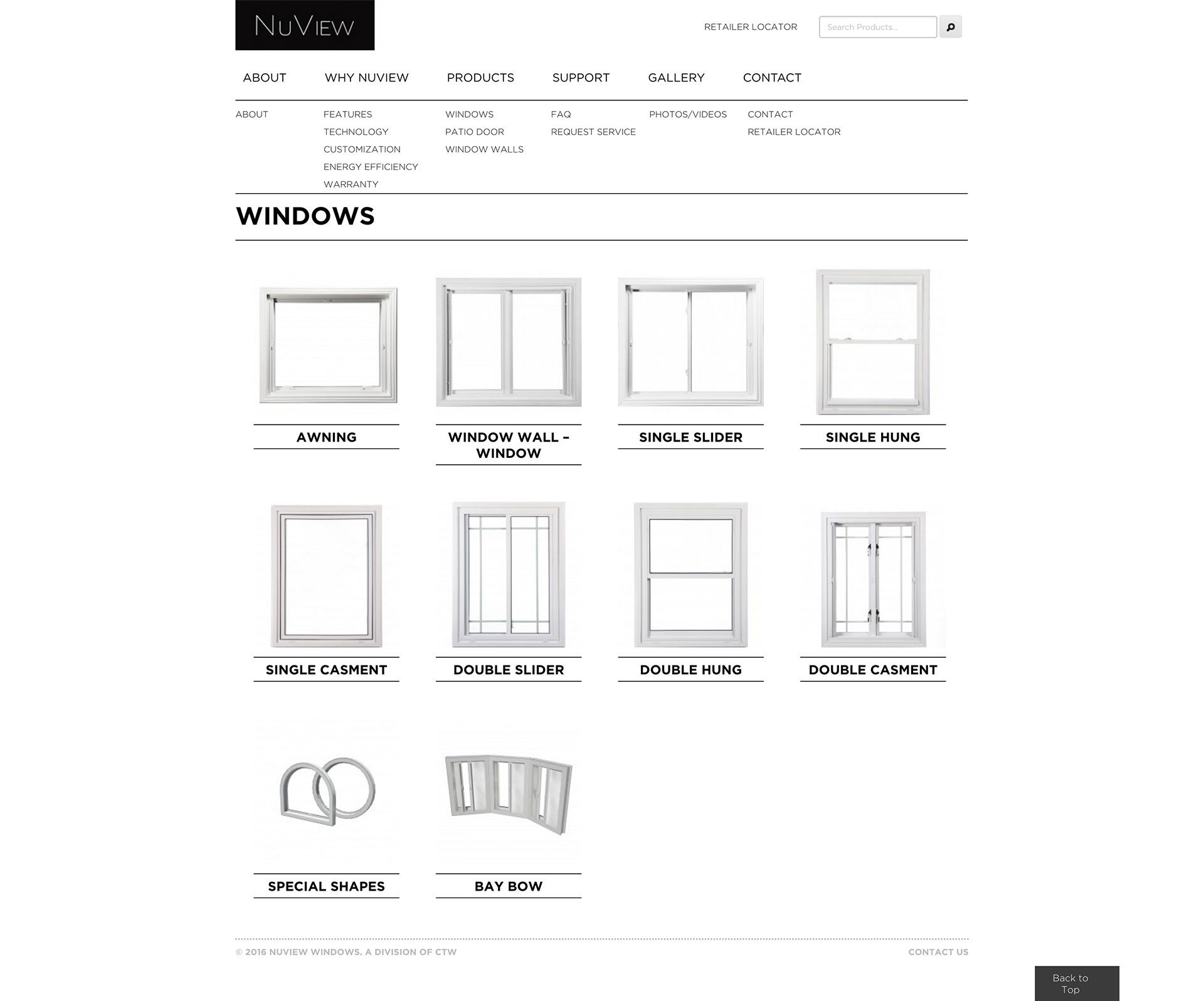 NuView Windows product list page