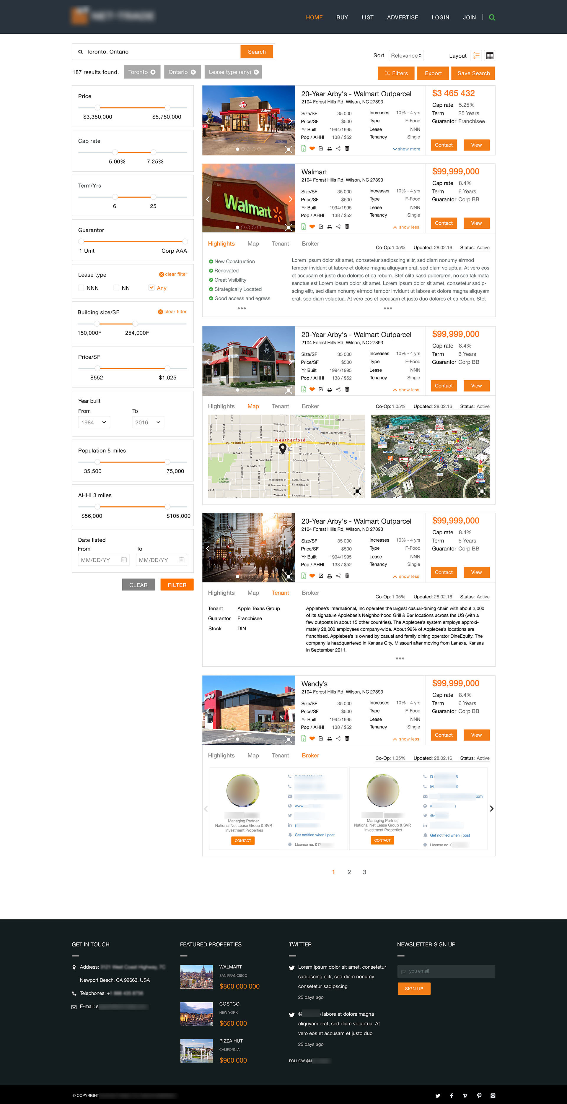 real estate website listing